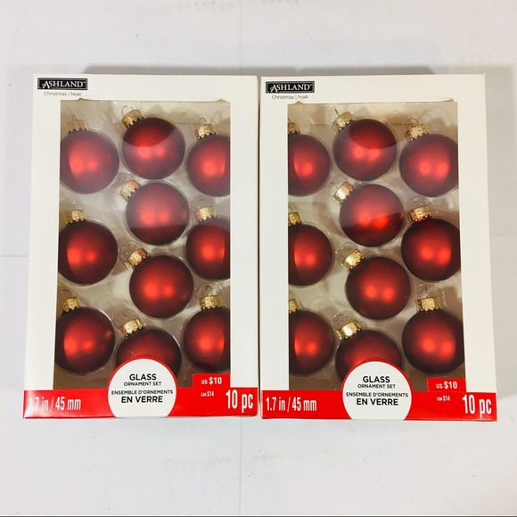 Ashland Christmas Ornaments 2 Sets Of 10 Red New Nwt